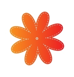 Flower sign orange applique isolated vector