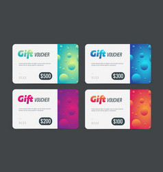 gift voucher set modern template with futuristic vector image