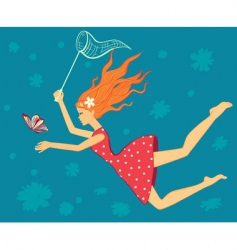Girl catch butterfly card vector