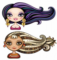 girls hairstyles vector image vector image
