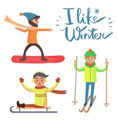 i like winter activities vector image