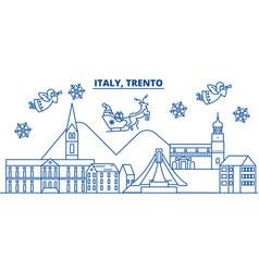 Italy trento winter city skyline merry christmas vector