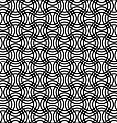 Repeating black white curved grid pattern vector image