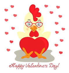 Rooster in glasses with heart valentines day vector
