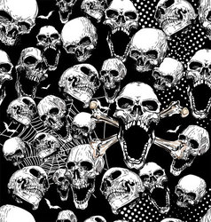 seamless skull background vector image vector image