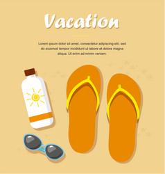 Slippers or flip flops on beach sand vector