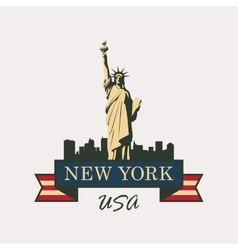 statue of Liberty in background of New York vector image