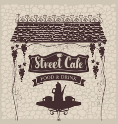 street cafe with table and tea roof and grapes vector image
