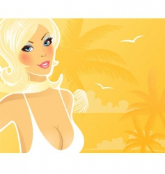 summer girl palms vector image vector image