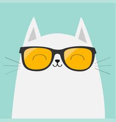 White cat wearing sunglasses eyeglasses smiling vector