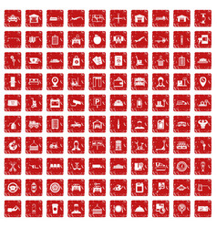 100 loader icons set grunge red vector