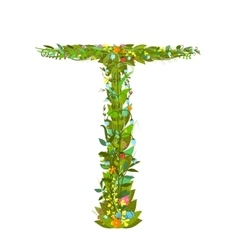 Letter t floral latin decorative character vector