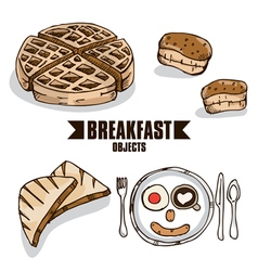 Breakfast object d vector