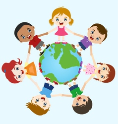 multicultural children hand in hand on earth vector image