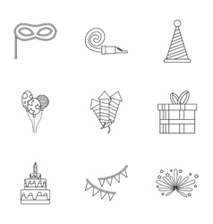 Holiday birthday icons set outline style vector