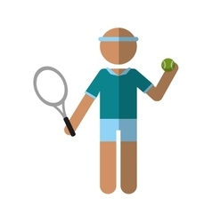 Character player tennis and ball racket vector