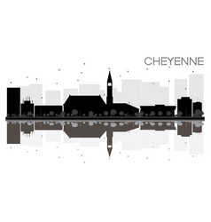cheyenne city skyline black and white silhouette vector image