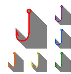 fishing hook sign  set of red orange vector image