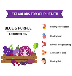 Eat colors for your health blue amp purple vector