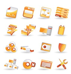 16 detailed internet icons vector image vector image