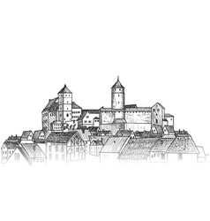 Old city downtown view medieval european castle vector