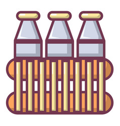 bottles of milk icon cartoon style vector image