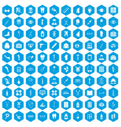 100 pharmacy icons set blue vector