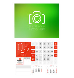 Wall calendar template for 2018 year may design vector
