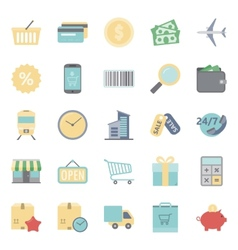 Sales and shopping flat icons set vector