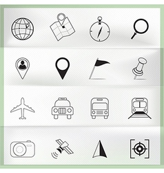 Map and location icons on paper folding vector