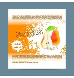 Template candy packaging pear sweets vector