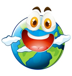 Earth with happy face vector