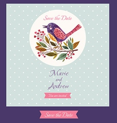 Save the date with bird vector