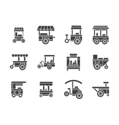 Wheel food stall glyph style icons set vector image
