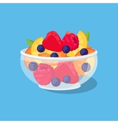 Glass bowl with fruit and berries vector