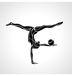 Silhouette of art rhythmic gymnastic girl with vector