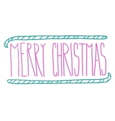 Hand drawn merry christmas doodle typography vector