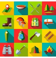 Camping icons set flat style vector