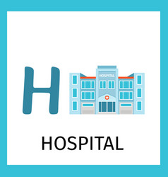 Alphabet card with hospital building vector