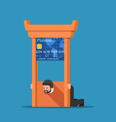 Businessman stuck in credit card guillotine vector