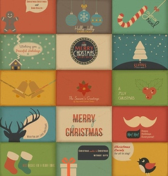 Collection of retro Holidays cards vector image vector image