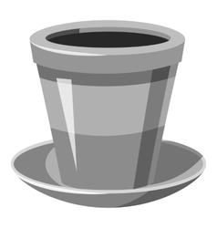 Flower pot icon gray monochrome style vector