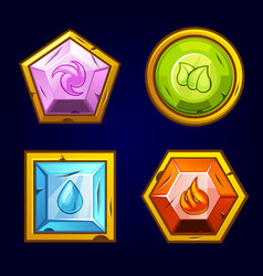 Four elements icon old precious stones vector