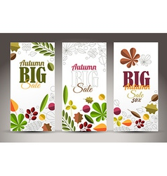 Fresh minimalist fall vertical banners with leafs vector image