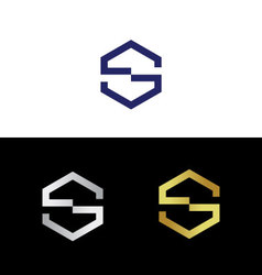 Geometric divided letter S vector image vector image
