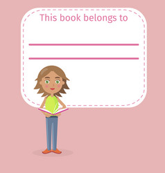 girl holds book and place for signing vector image vector image