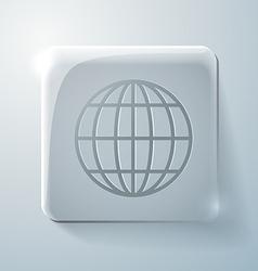 Glass square icon globe symbol vector image