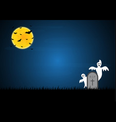 halloween white ghost gravestone moon bat vector image vector image