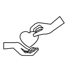 Hand gives heart icon outline style vector