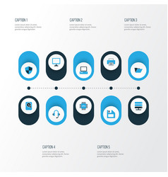 hardware colorful icons set collection of file vector image
